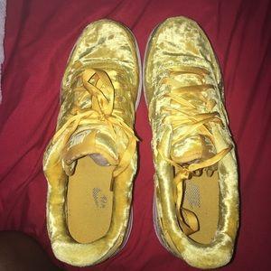Yellow Nike velvet air forces